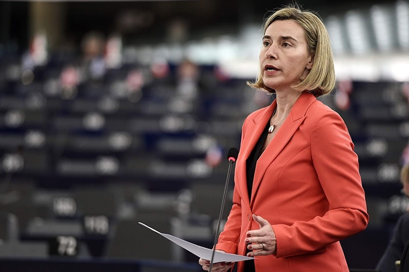 European Union foreign policy chief Federica Mogherini speaks during a debate on Syria and Turkey at the European Parliament in Strasbourg, eastern France, on November 22, 2016. (AFP Photo)