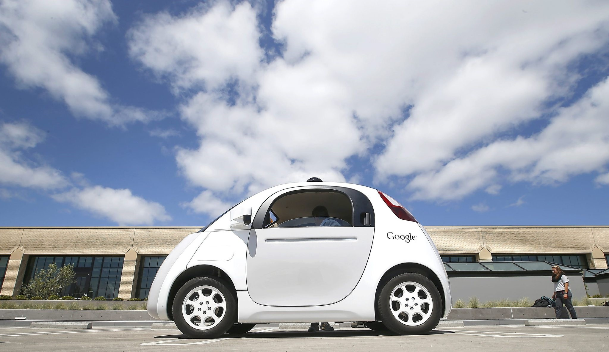 In this May 13, 2015, file photo, Google's new self-driving prototype car is presented during a demonstration at the Google campus in Mountain View, Calif. (AP Photo)