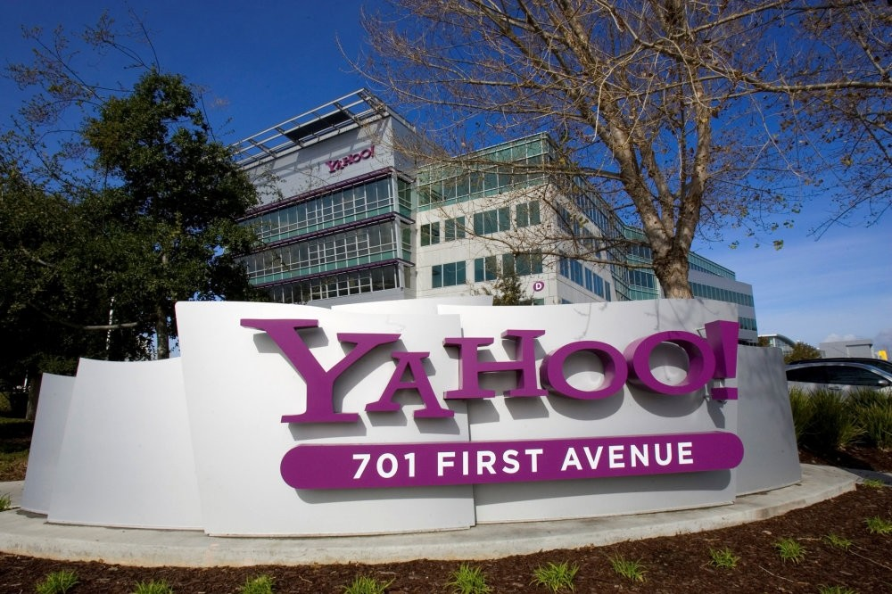 A Yahoo! signs sits out front of their headquarters in Sunnyvale, California.