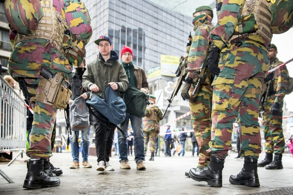 Belgian soldiers are guarding key sites across Brussels.