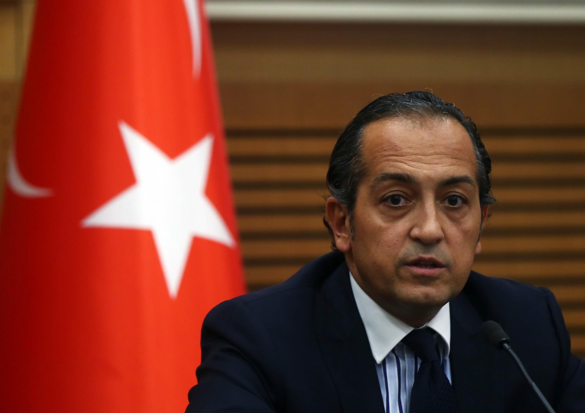 Foreign Ministry Spokesperson Hu00fcseyin Mu00fcftu00fcou011flu speaking at a press conference on Nov. 7, 2016. (AA Photo)