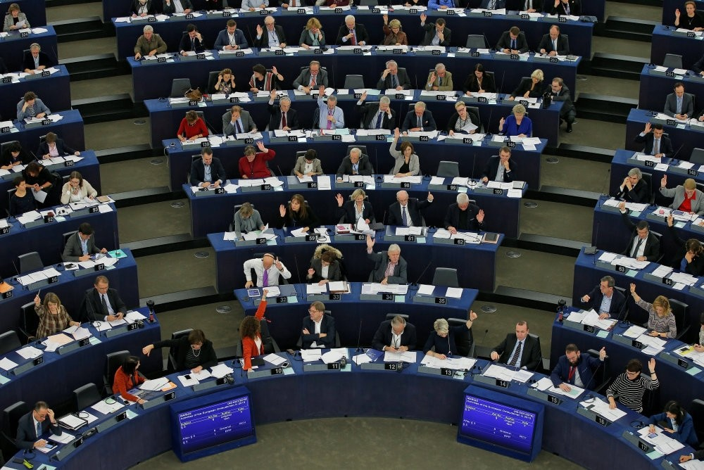 Members of the European Parliament take part in a voting session at the European Parliament in Strasbourg, France, Nov. 24.