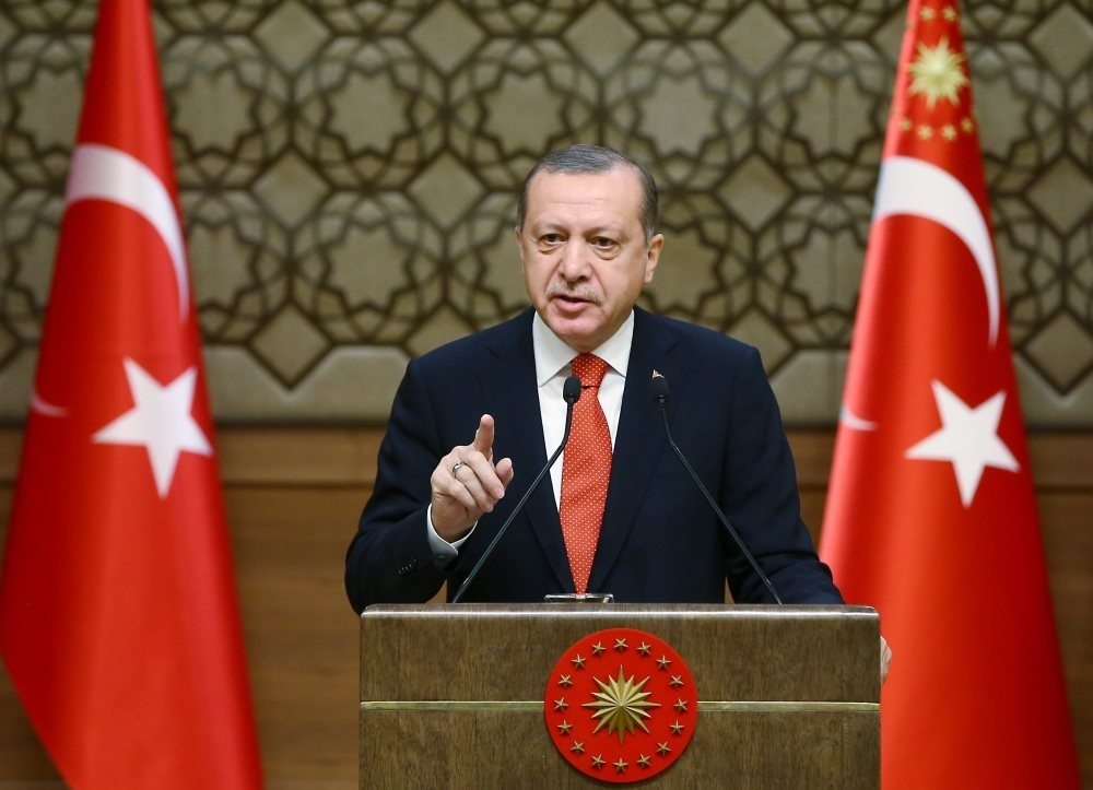 President Recep Tayyip Erdou011fan speaking during the 33rd mukhtars (local officials) meeting in Ankara, Jan. 4.