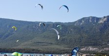Constant wind in Turkey's Aegean coast lures windsurfers