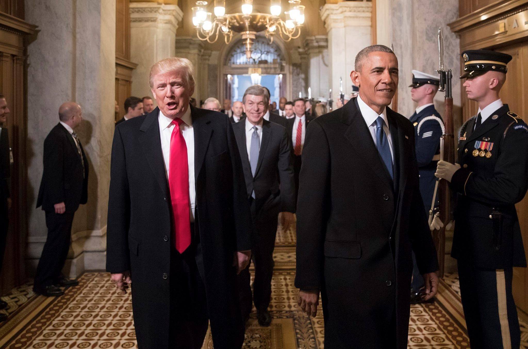 Trump and US President Barack Obama arrive for Trump's inauguration ceremony at the Capitol in Washington, DC, USA, 20 January 2017. (EPA Photo)
