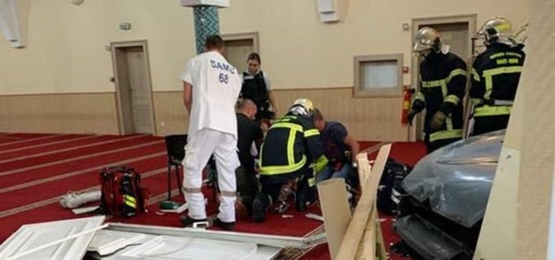 A CAR CRASHES INTO GRAND MOSQUE OF COLMAR IN EASTERN FRANCE