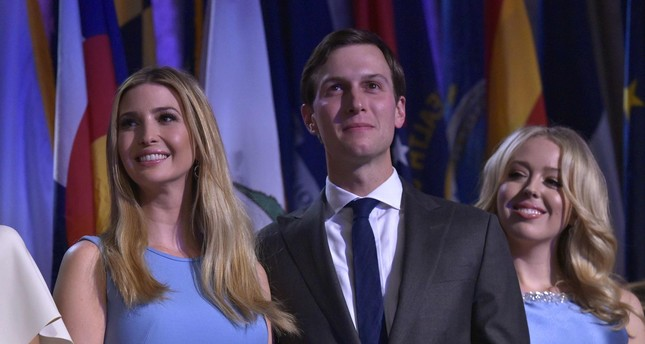 Ivanka Trump, her husband Jared Kushner and Tiffany Trump during election night at the New York Hilton Midtown in New York.  (AFP Photo)